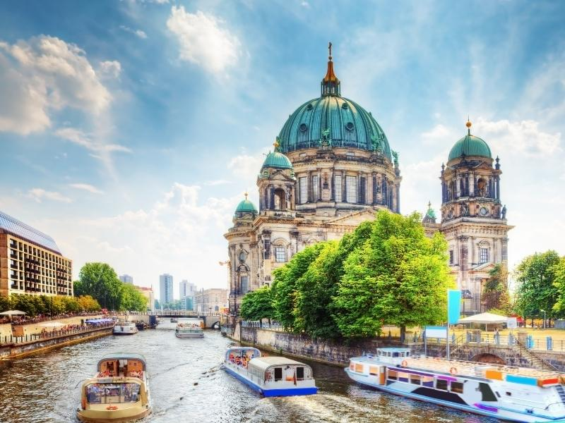 View of Museum Island in Berlin a city which appears in many German TV shows on Netflix.