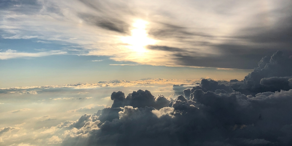 View from an airplane of clouds