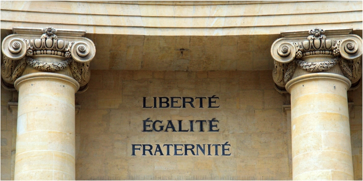 Liberte Egalite and Fraternite sign