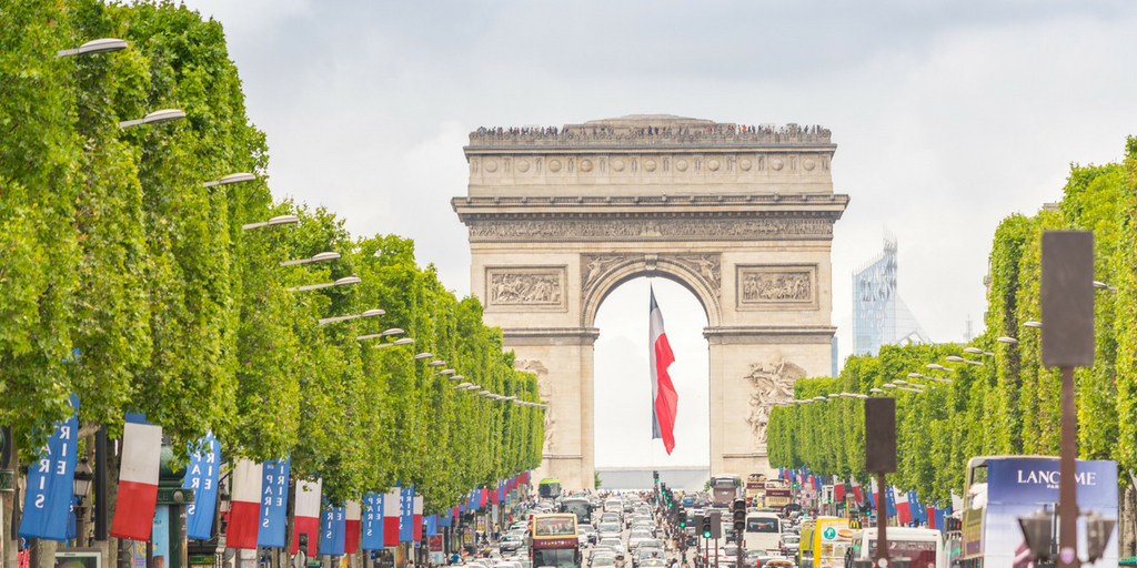 Champs Elysee and the Arc de Triumph