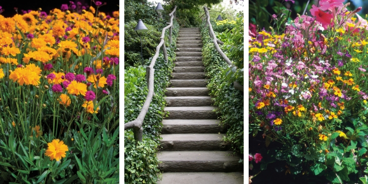 BUTCHART GARDENS CANADA - FLOWERS AND STAIRS