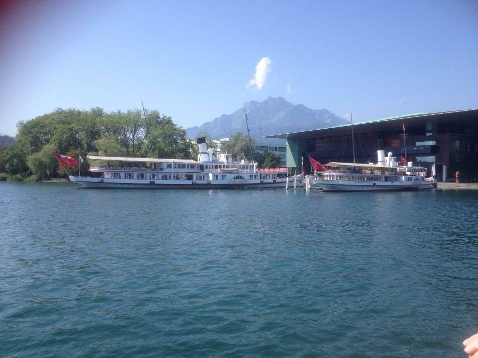 The boats ready to take you across the lake - A trip up Mt Pilatus