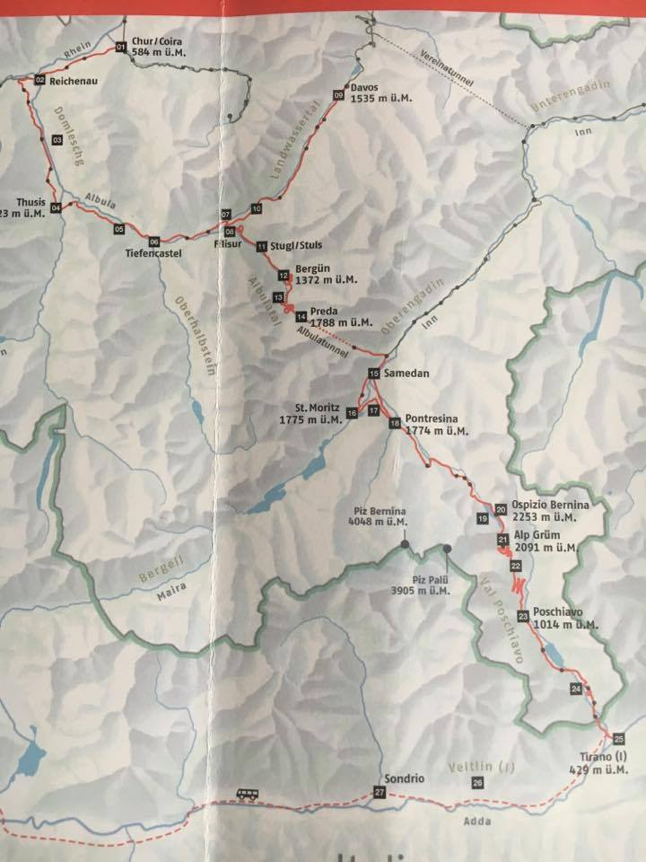 map-detail of the Bernina Express route | A Trip on the Bernina Express featured by top internation travel blog, Tracy's Travels in Time