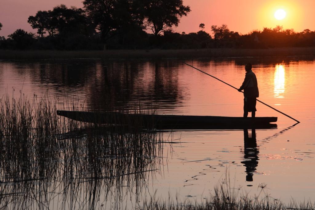 poling Mokoros in the Okavango Delta Botswana