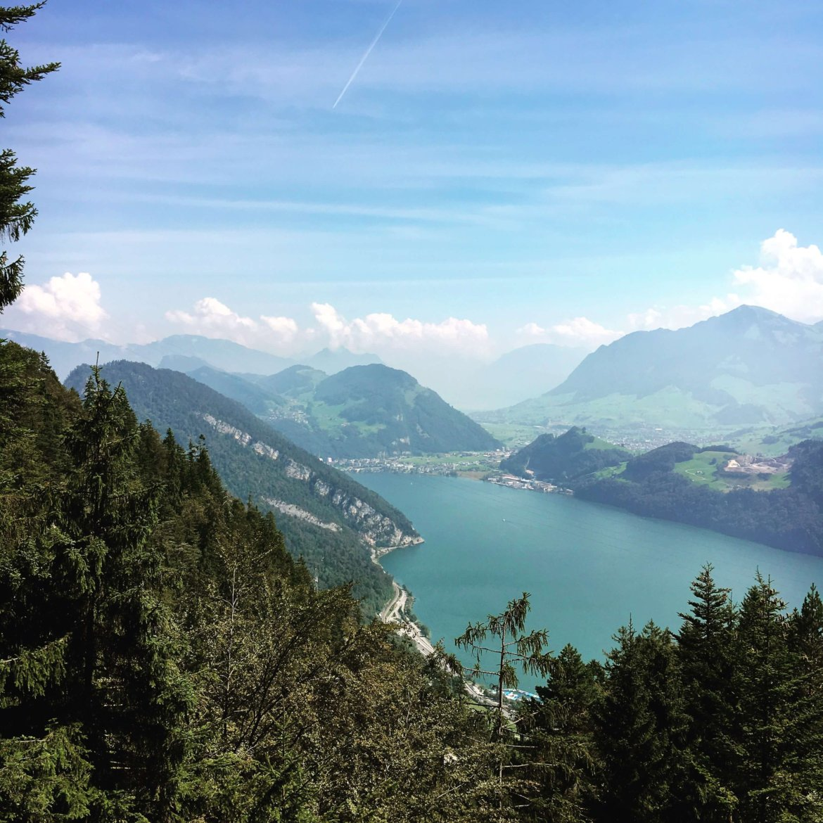 View of Lake Lucerne from the cog railway on Mt Pilatus