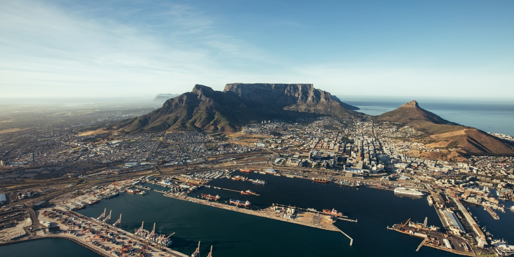 View of Cape Town and Table Mountain in South Africa