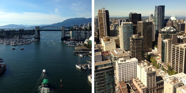 View of the aquabus and view from the Vancouver Lookout