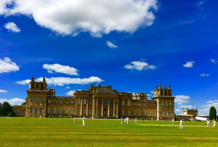 Playing cricket at Blenheim Palace