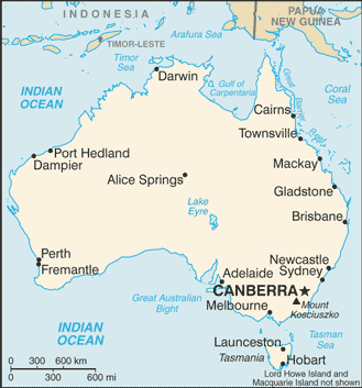map of australia showing cities including mackay