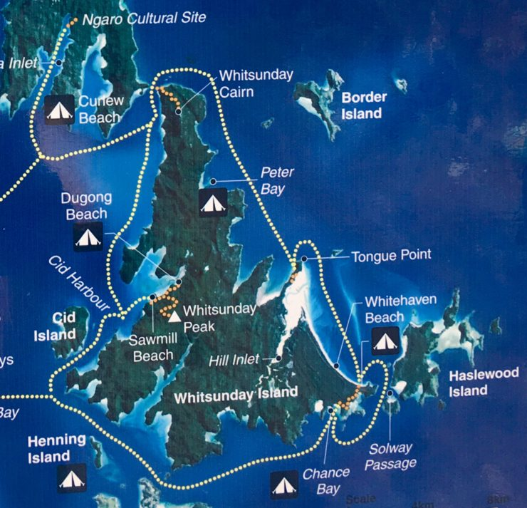 A map of the Whitsundays in Australia