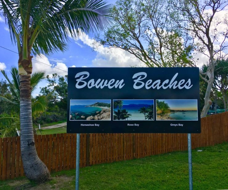 a sign showing Bowen beaches