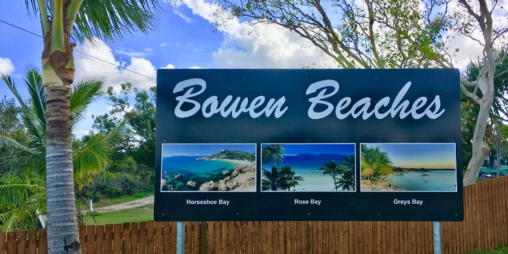 Bowen beaches sign