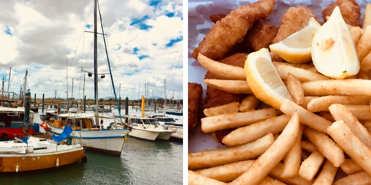 Fish and chips and fishing boats in Bowen Queensland