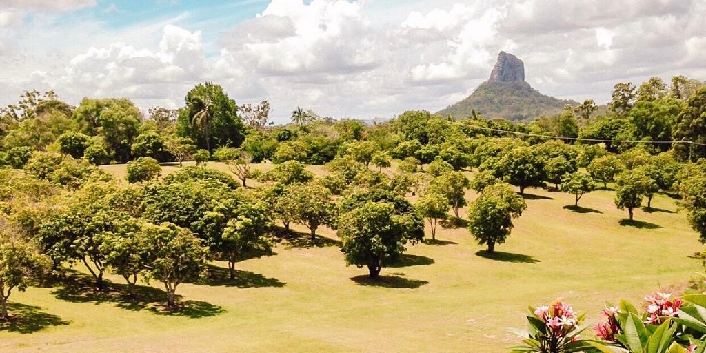View of the Glasshouse Mountains in Queensland