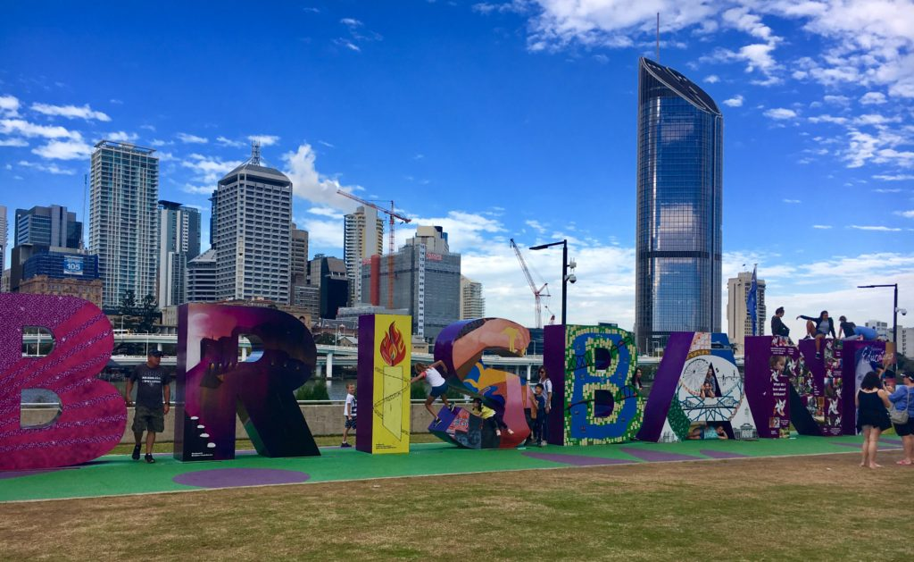 south bank brisbane and the brisbane sign just one of the things to do in south bank brisbane | 20 Top Things to Do in South Bank Brisbane featured by top international travel blog, Tracy's Travels in Time