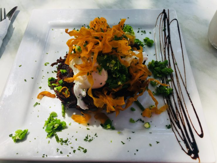 sweet potato rosti with pea and poached eggs