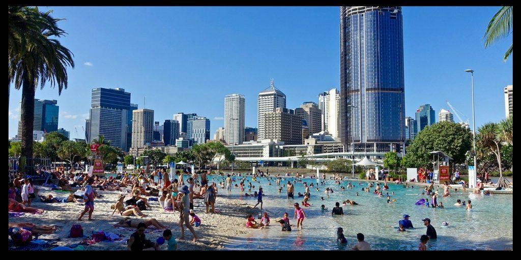 south bank in Brisbane Australia has a man made beach - life in australia