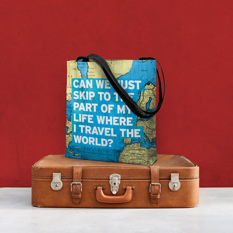 Top 20 Map Gifts featured by top international travel blogger, Tracy's Travels in Time Great tote bag