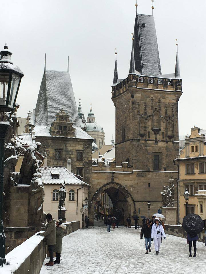 Prague CHARLES BRIDGE - Karlův Most in the snow