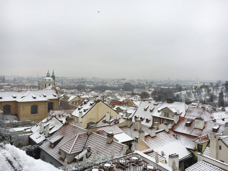 snow scene of Prague