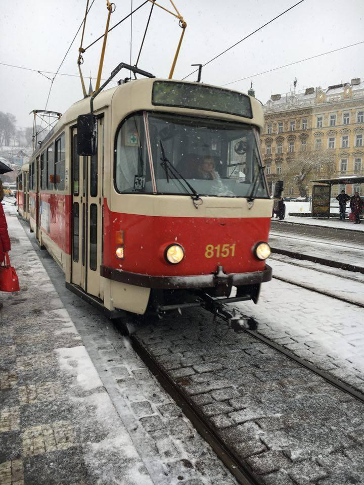 Prague tram in the snow