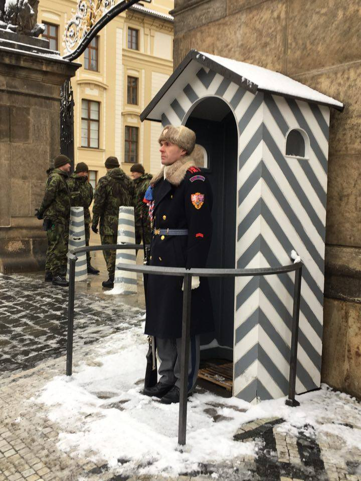 Prague castle with a guard on duty