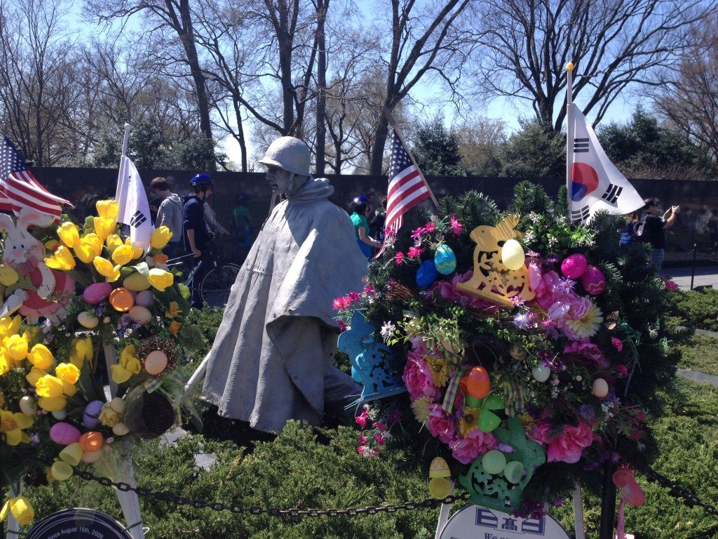 The Korean War memorial in Washington DC