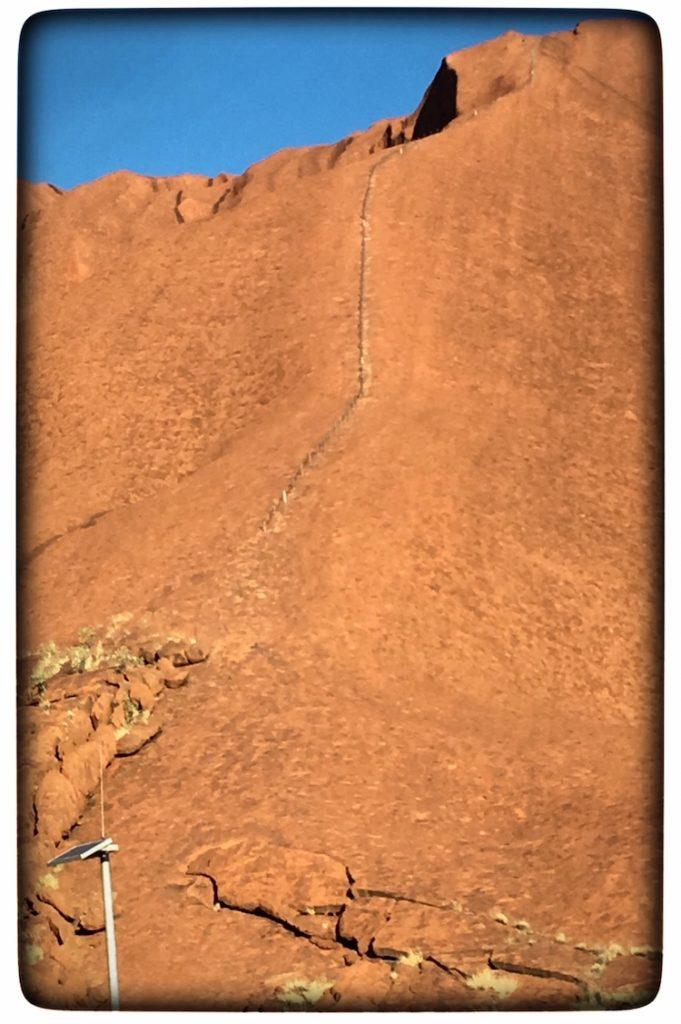 the railing on the side of Uluru
