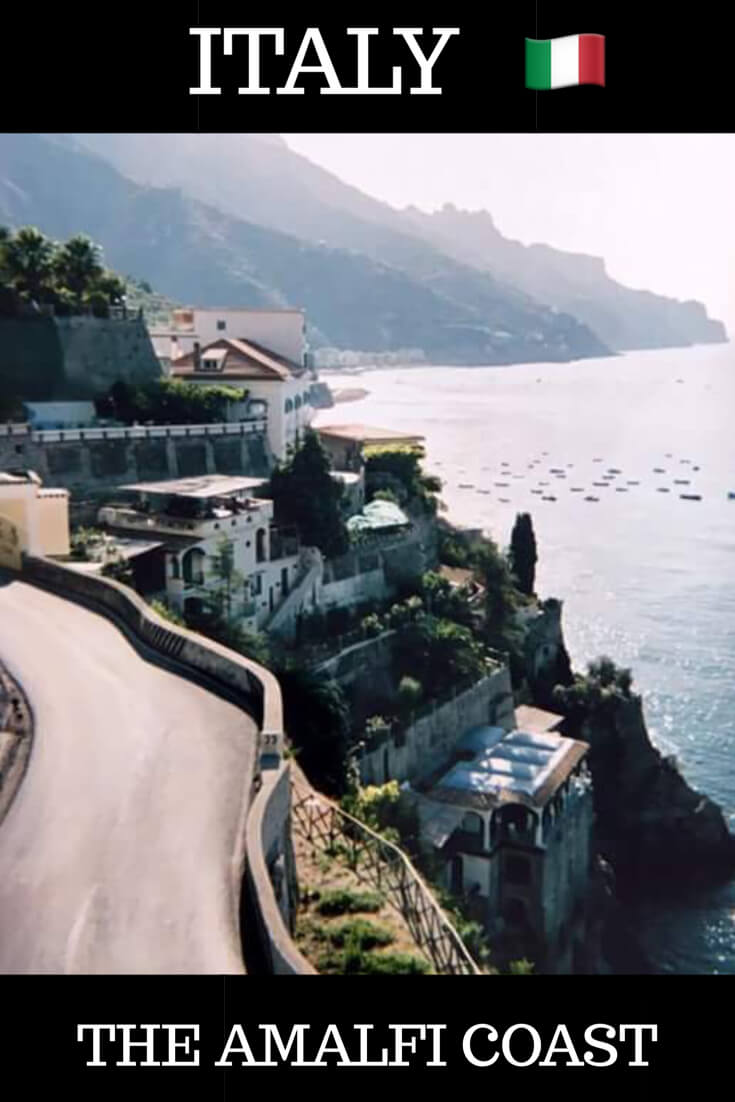 A photograph of the Amalfi Coast in Italy