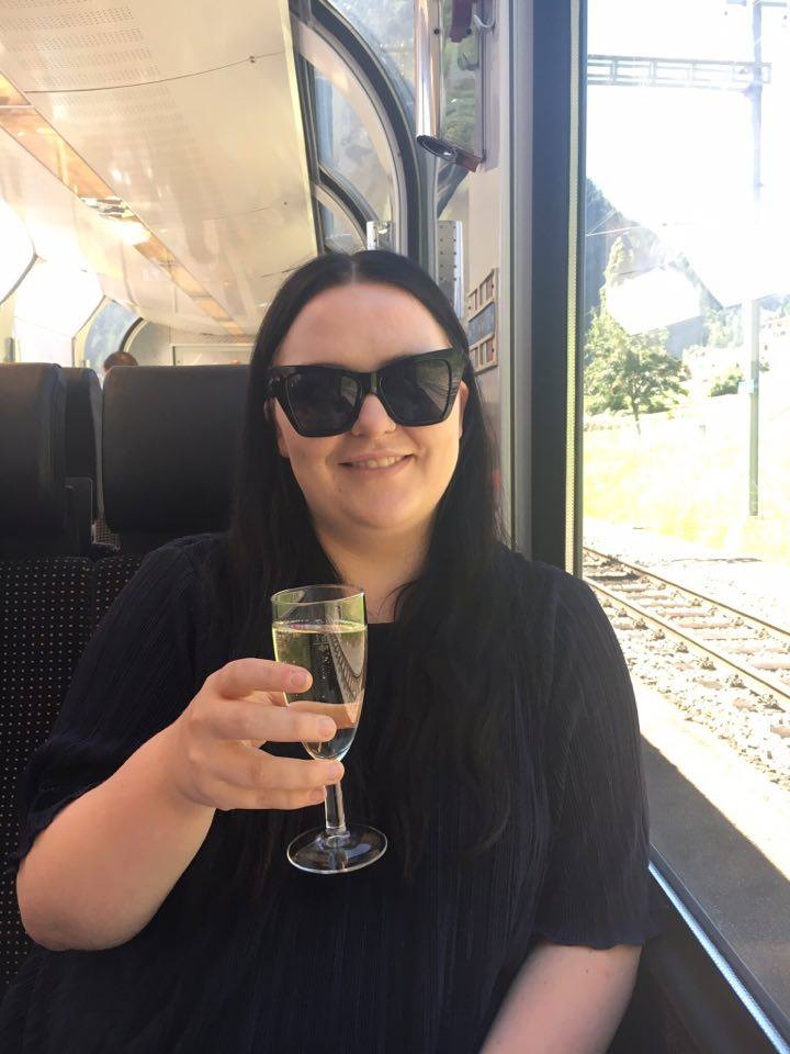 cheers - a glass of champagne on the Bernina Express