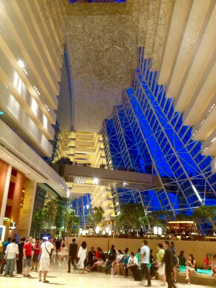 The lobby in the Singapore Marina Bay Sands Hotel