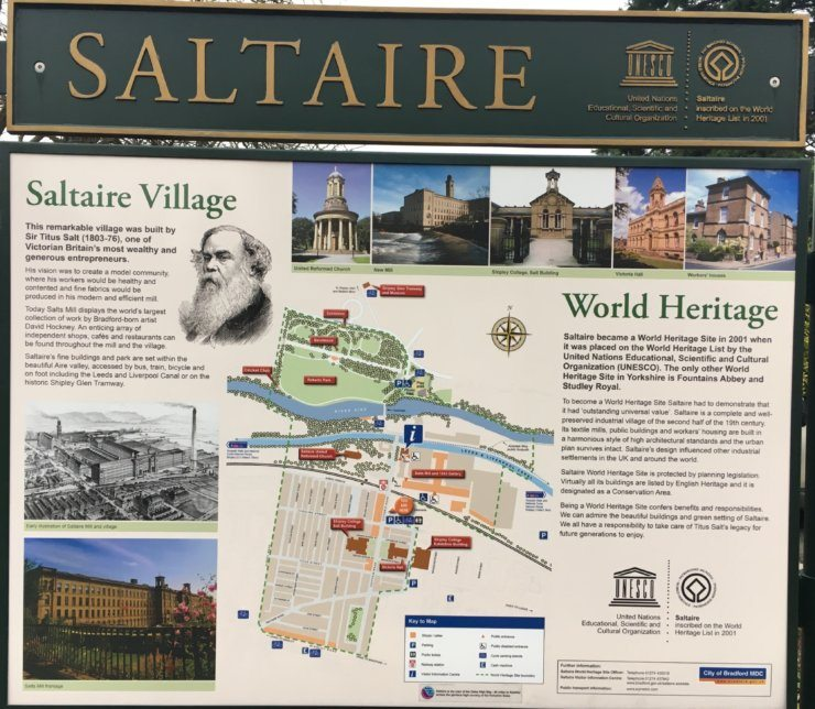 The Saltaire notice board near the train station has lots of information about things to do in Saltaire