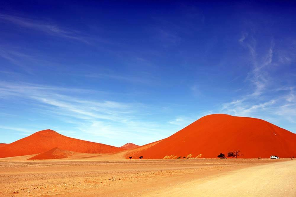 Namibia view of the orange sand dunes
