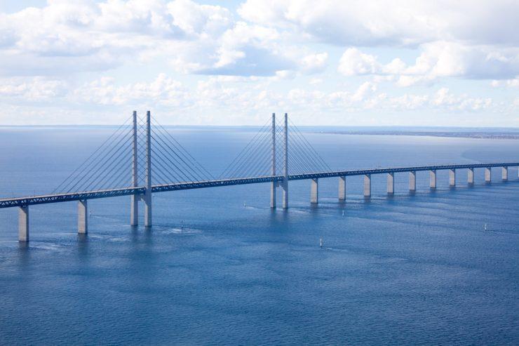 The Oresund Bridge connecting Denmark and Sweden