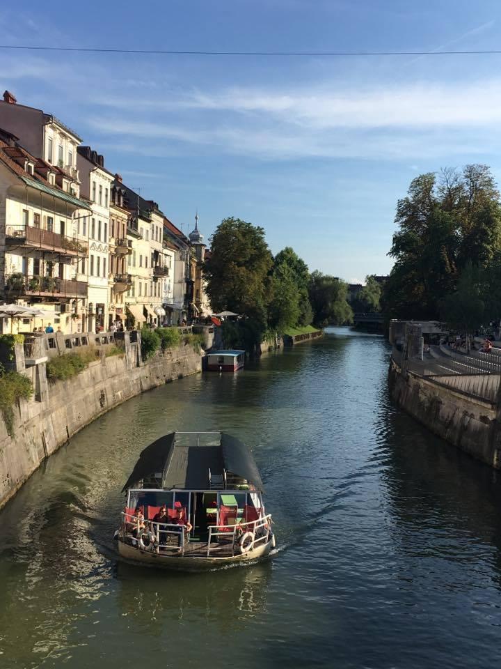 cruising-along-the-river in Ljubljana