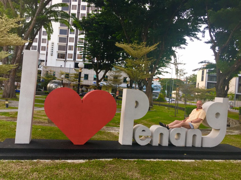 street art in penang - I love penang sign | Penang street art and murals featured by top international travel blogger, Tracy's Travels in Time