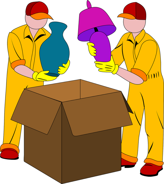 removal company - PICTURE OF CARTOON MEN PACKING A BOX