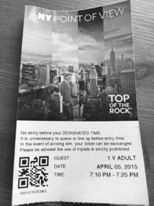 ticket for Top of the Rock