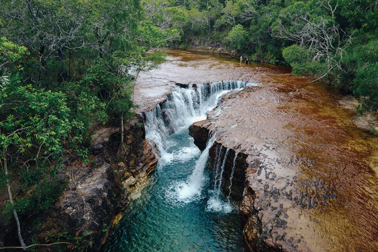 A photograph of Cape York a waterfall and a gorge