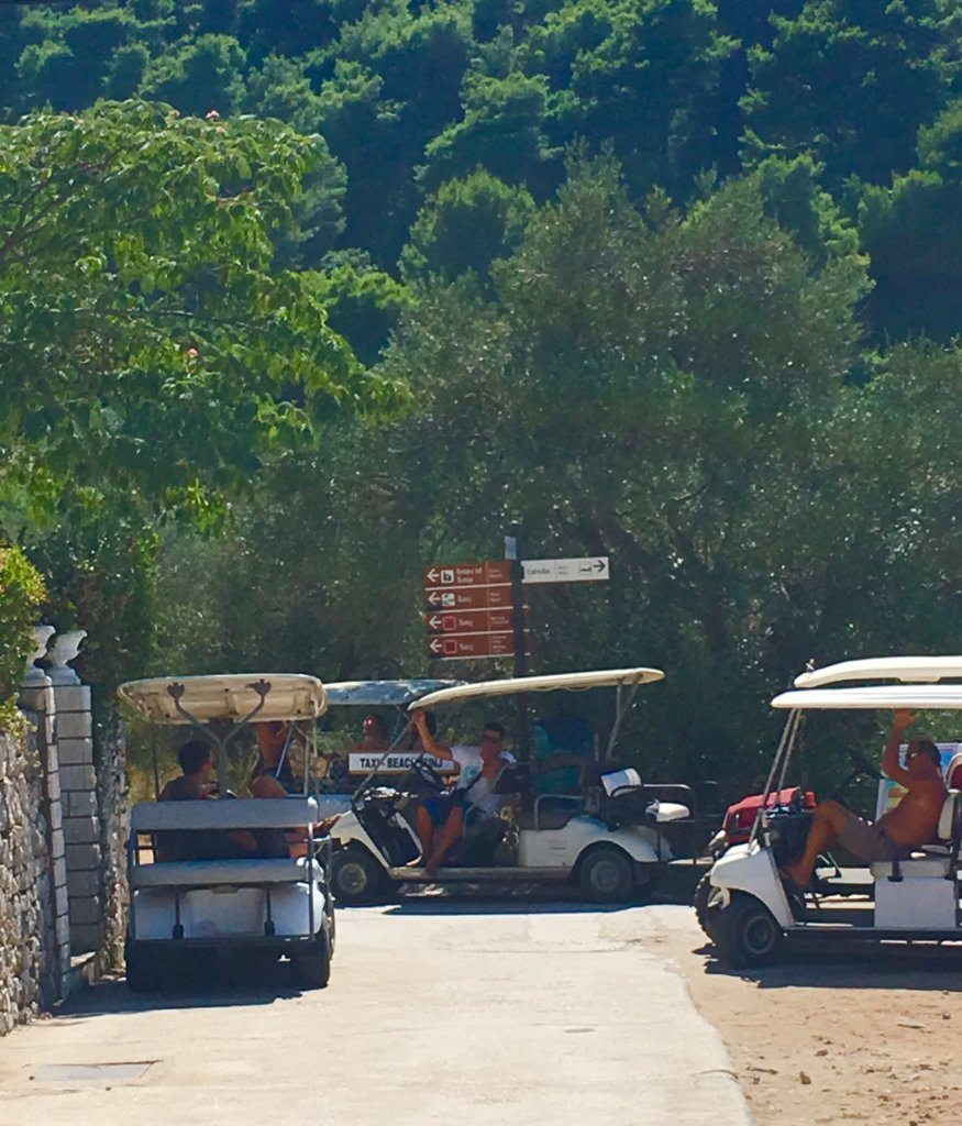 golf buggies waiting on the island of Lopud Elafiti Islands