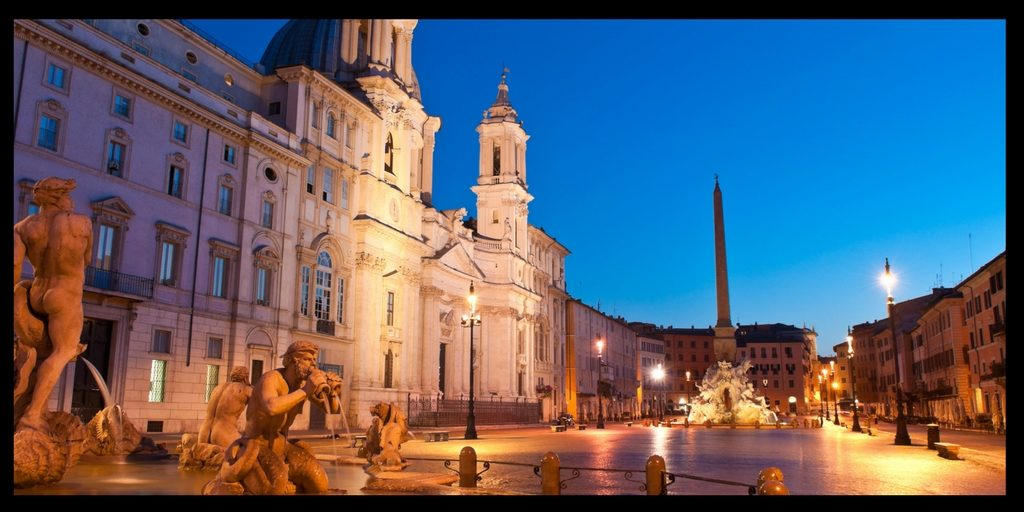 Piazza Navona at night in Rome Italy