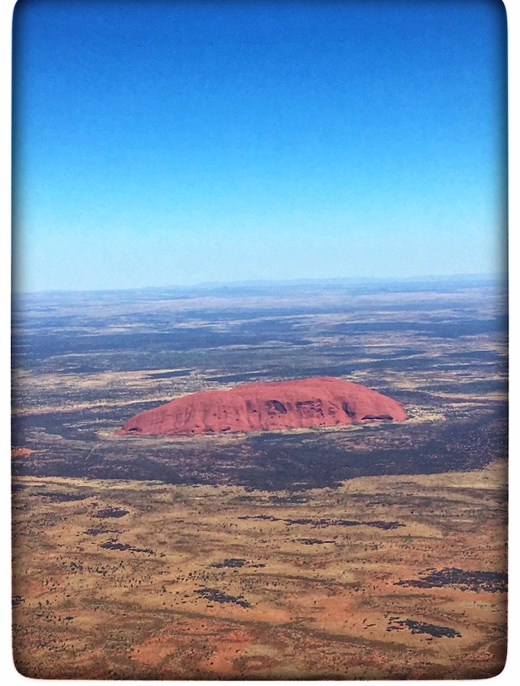 Beautiful view of Uluru from the airplane