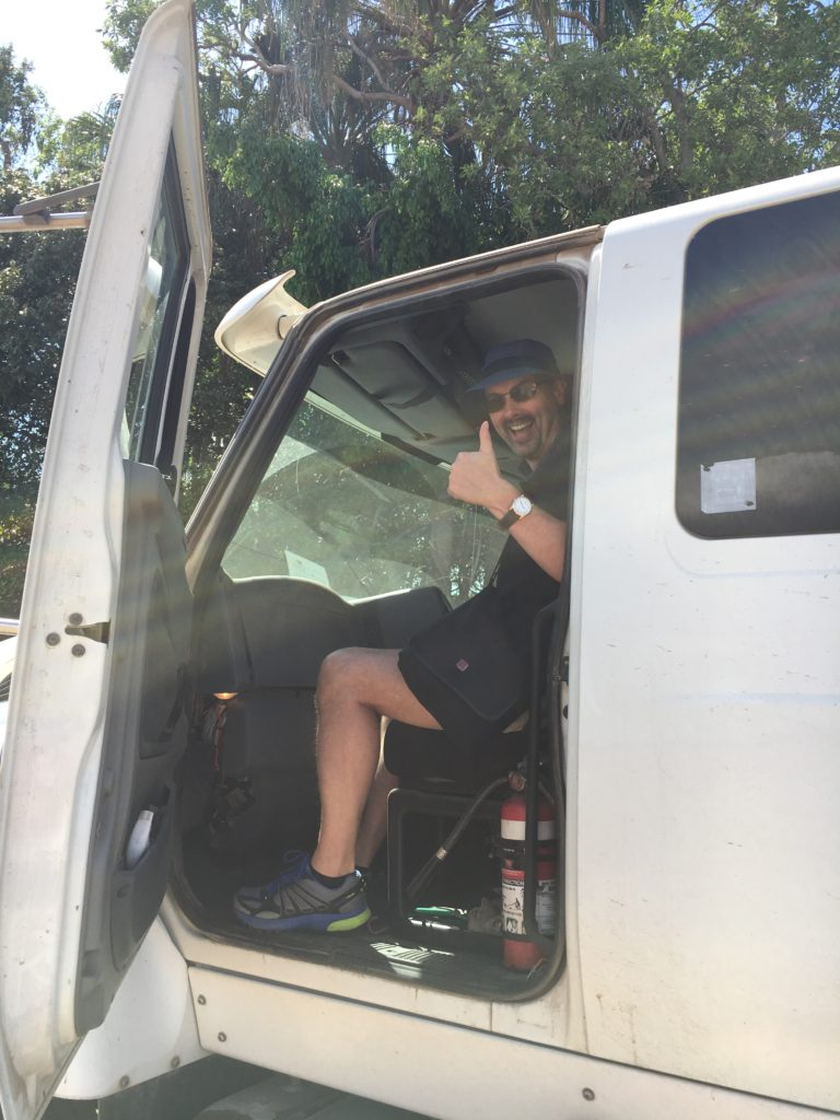 My husband going out in the dunder truck!