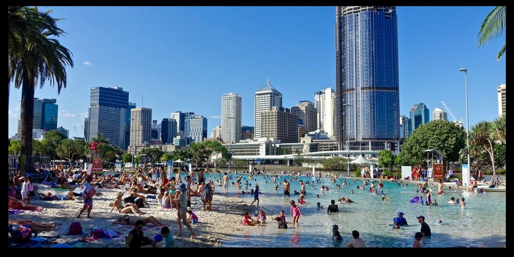 south bank in Brisbane Australia has a man made beach - life in australia