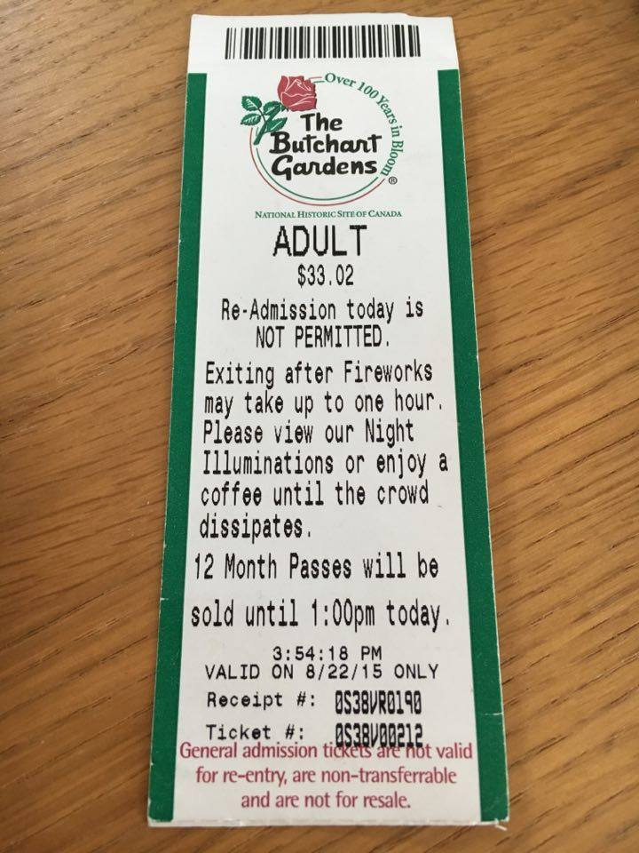 ticket to Butchart Gardens - Butchart and Edinburgh Botanical Gardens