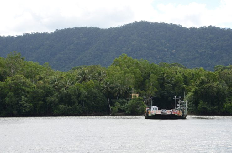 a boat on the water at Cape Tribulation