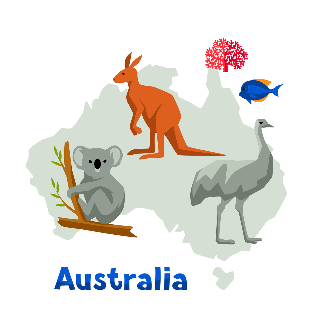 map of australia with animals on it - tips to support children emigrating to Australia