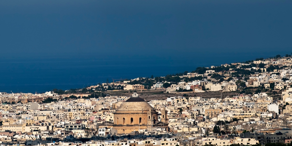 The town of Mosta with its large domed church on the island of Malta
