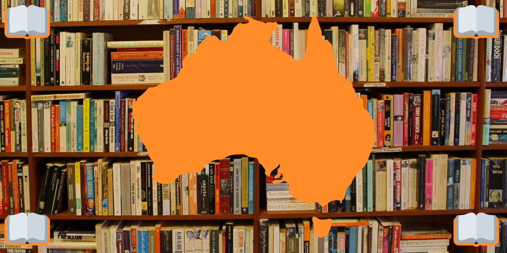 BOOKS IN A LIBRARY WITH A MAP OF AUSTRALIA ON TOP | Top 18 Books about Australia featured by top international travel blog, Tracy's Travels in Time