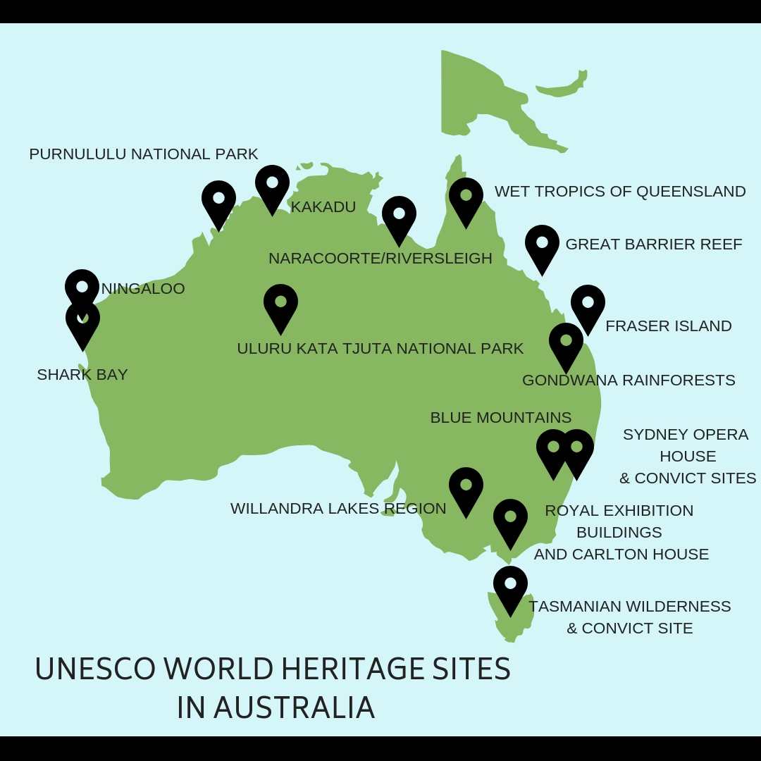 WORLD HERITAGE SITES AUSTRALIA MAP